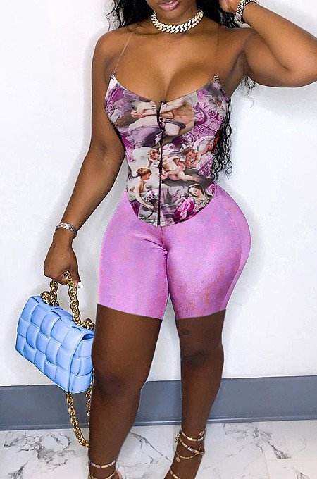 Fashion Oil Painting Print Toning Zipper Two-Piece LY020