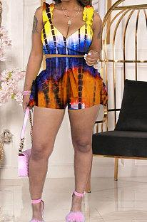 Sexy Womne Falbala V Neck Backless Printing Shorts Sest MDF5252