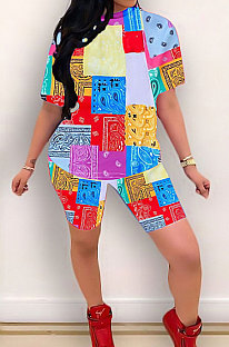 Trendy Sexy Casual Decorative Pattern Short Sleeve Two-Pieces YZL834