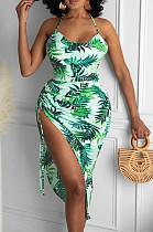 Fashion Sexy Digital Print Hang A Neck Drawsting Dress MK026