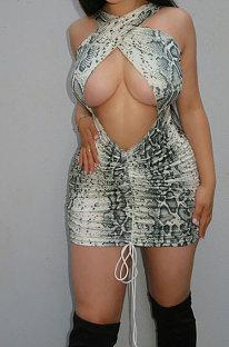 Boa Constrictor Printing Sexy Chest Warp Halter Neck Mini Dress MOL127