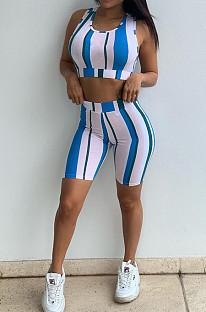 Sexy Digital Printing Stripe Vest Shorts Two-Piece MK029
