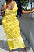 Длинное платье без рукавов с принтом в виде рыбьей чешуи NK231