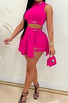 Women Sleeveless Dressy Shorts Pure Color Skirts Sest LD9140