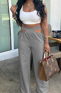 Повседневные брюки-клеш TRS1126 с открытыми плечами и шириной талии чистого цвета