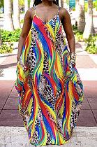 طباعة جيب فستان طويل فضفاض من Giant Swing فضفاض JZH8049
