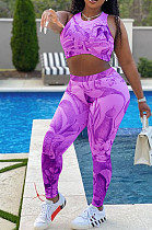Casual Sport Print Jogging Yoge Vest Two-Piece F8353