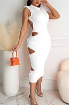 فستان Euramerican بلون نقي مفرغ بدون أكمام TRS1128