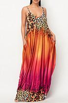 فستان طويل فضفاض بطبعة جرادينت كاجوال بحمالات F8352
