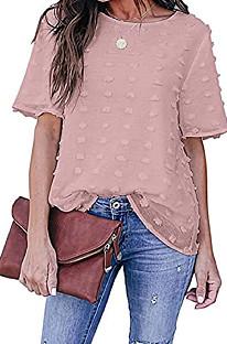 Euramerican Fashion قميص شيفون لون نقي كاجوال برقبة دائرية MDO202104