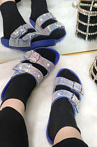 Fashion Colorful Double Buckle Diamond A Word Cool Slippers STK17