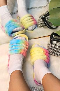 Модные летние тапочки на плоской подошве с красочным рисунком на меху STK13