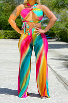 Sexy Trendy Bind Loose Gradual Change Printing Pants Sets SH7254