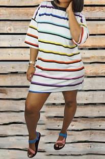 Модное женское платье в полоску из лесса ORY5095