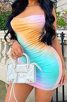 Trendy Tie Dye Positioning Printing Gallus Mini Dress ASM6111