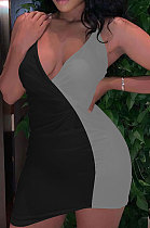 Sexy V Neck Contrast Color Irregularity Sling Dress KKY8014
