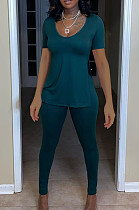 Women Casual Pure Color V Neck Open Fork Short Sleeve Two-Piece YFS3679
