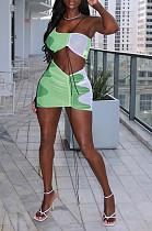 Короткая юбка без рукавов с принтом Fshion и завязкой из двух частей SYY8050