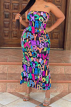 Women Multi Letter Printing Plus Midi Dress AYL2039