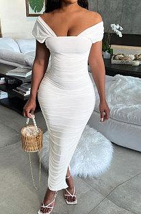 Модное длинное платье из молочного шелка с оборками и темпераментом, необычное длинное платье WME2054