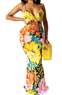 Модное сексуальное длинное платье с принтом средней талии WY6785
