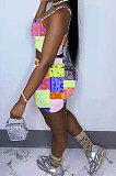 أزياء المرأة كتف واحد مثير اللون الكاجو الزهور قطعتين WME2039