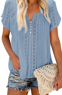 Однотонная шифоновая блузка с короткими рукавами и V-образным вырезом MDO202105