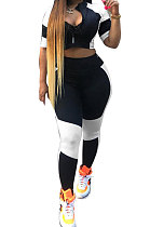 Spliced Black White Women Casual At Home Sexy Pants Sets AYL2022