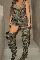 المرأة التمويه طباعة مثير ضيق البسيطة اللباس QL6031
