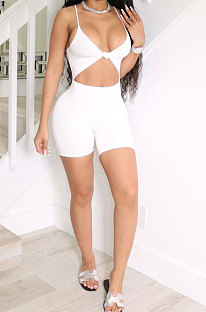 Fashion Sexy Pure Color Hollow Out Cultivate One's Morality Package Buttocks Romper Shorts N9281
