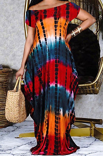 Sping Summer Print A Word Shoulder Long Dress QSS5077