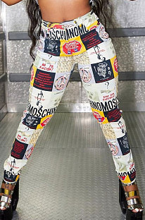Fashion Graffiti Commuting Casual Mid Waist Long Pants CYC715