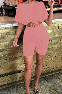 A Word Shoulder Bind Pure Color Shorts Sets JP1027