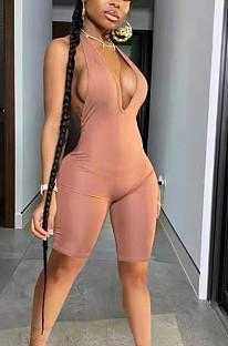 Women Sexy Deep V Pure Color Jumpsuit HH8968