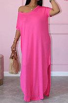 فستان نسائي صيفي فضفاض بألوان نقية وأكمام قصيرة JR3613