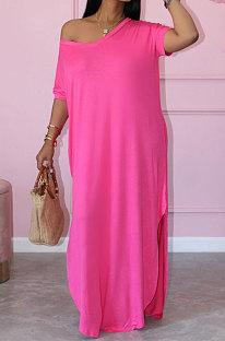 Women Summer Pure Color Loose Short Sleeve Long Dress JR3613