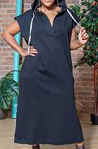 Fashion فستان طويل بفتحة أكمام قصيرة لون نقي LSZ9089