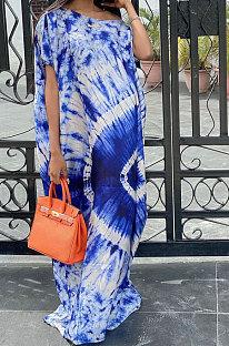 Women Blue Loose Positioning Printing Long Dress JR3611