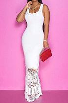 فستان طويل بدون أكمام للنساء من الدانتيل بلون نقي JR3609