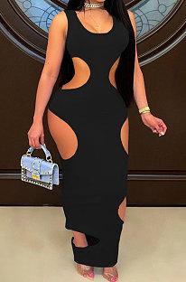 Sexy Pure Color Hole Long Dress JR3606