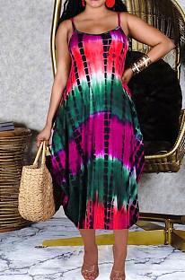 Casual Irregularity Sling Print Loose Dress CM2116