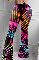 Сексуальные повседневные модные обтягивающие брюки-клеш с принтом тай-дай, длинные брюки YMM9037