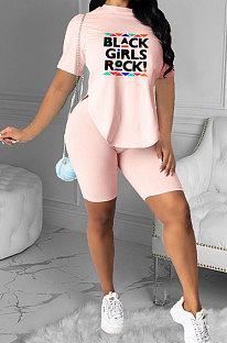 Fashion Irregular Letter Printing Casual Shorts Sets YFS3682