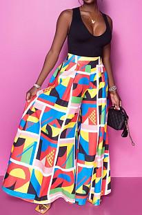 Casual Fashion Print High Waist Wide-Legged Pants SDE3109
