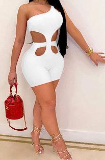 Sexy Fashion Casual Women One Shoulder Sleeveless Romper Shorts YMM9067
