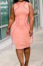 Sexy Package Buttocks Trendy Tassels Round Neck Sleeveless Midi Dress YFS3681