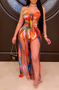 Sexy Chest Wrap Bind Ankle Strap Open Fork Print Two-Piece LS6425