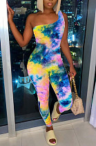 Fashion Women Inclined Shoulder Print Sexy Jumpsuit YT3268