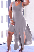 Fashion Sexy Pure Color Vest Open Fork Casual Two-Piece ARM8259