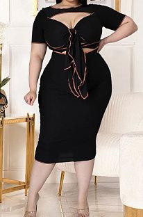 Fashion Big Size Women Pure Color Hollow Out Bind Plus Midi Dress GL7023